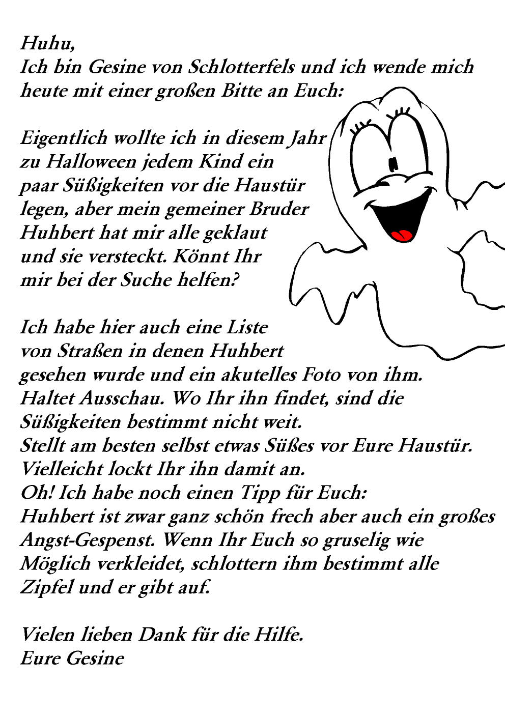 Halloween Text Gesine
